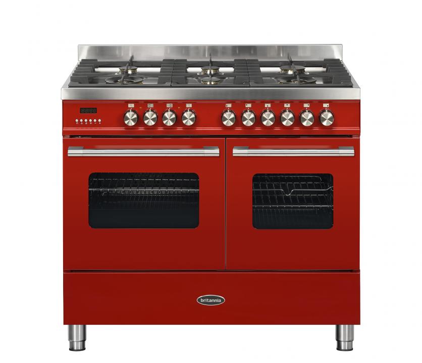 Image of Britannia 544440026 Delphi 100cm Dual Fuel Range Cooker - Red