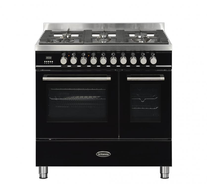 Image of Britannia 544440047 Q Line 90cm Dual Fuel Range Cooker - Gloss Black