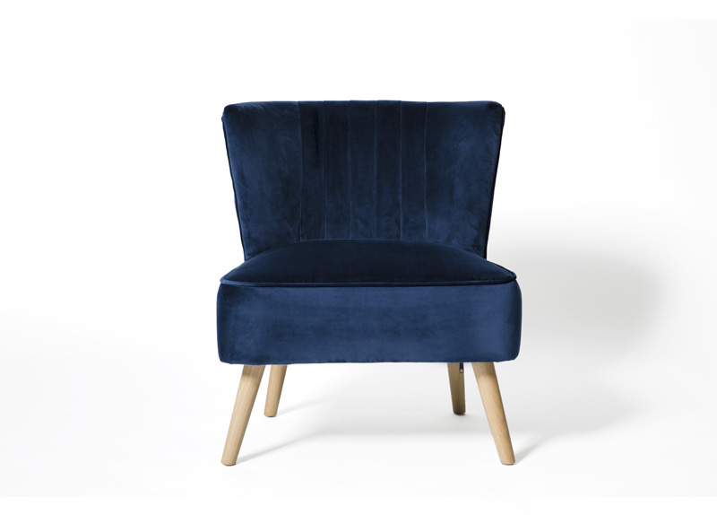Image of Albie Fabric Cocktail Chair - Blue