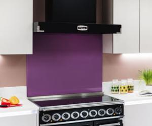 Falcon black cooker hood with purple splashback