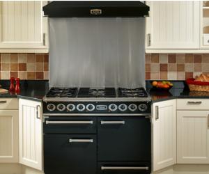 Falcon black range cooker and silver splashback