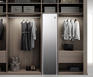 LG clothes styler in bedroom