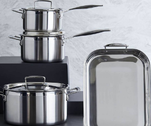 Le Creuset stainless steel saucepans and roaster