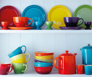 Brightly coloured Le Creuset stoneware stoneware products