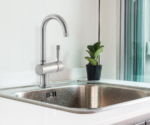 Chrome hot tap and sink