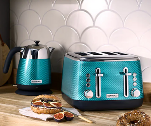 Kenwood teal kettle and toaster
