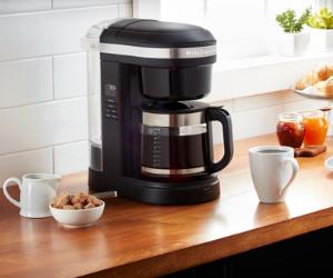 KitchenAid black coffee machine on countertop