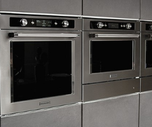 Bank of KitchenAid built-in ovens