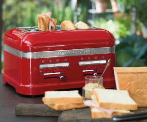 Red KitchenAid four slice artisan toaster with bread