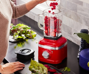 KitchenAid red food blender with fruit