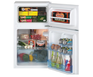 Lec under counter fridge with open door