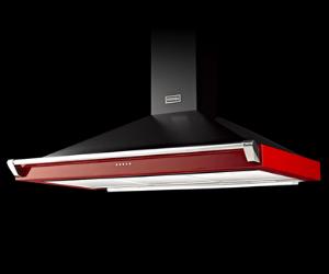 Stoves red cooker hood on black background