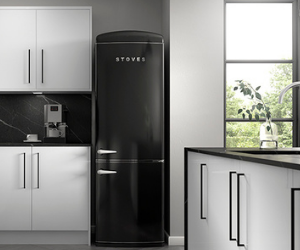 Stoves black retro fridge freezer