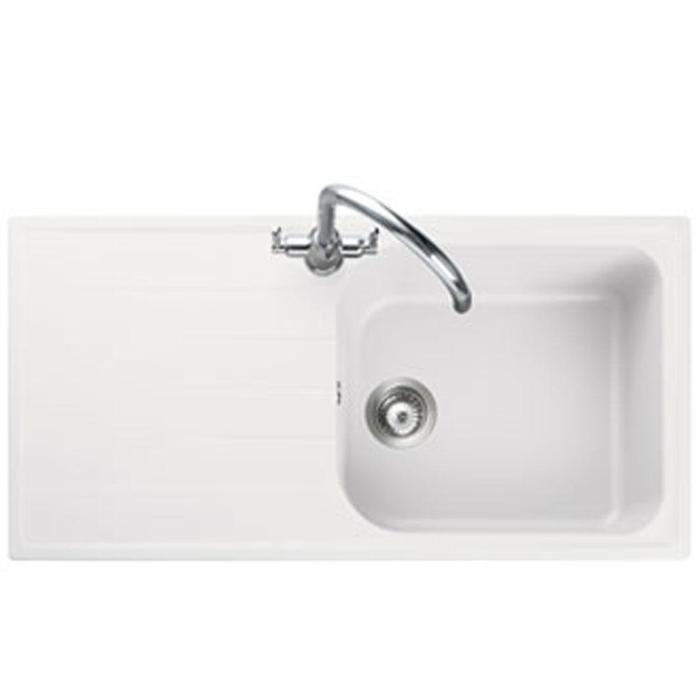 Image of Rangemaster AME1051CW Amethyst Crystal White 1 Bowl Inset Sink