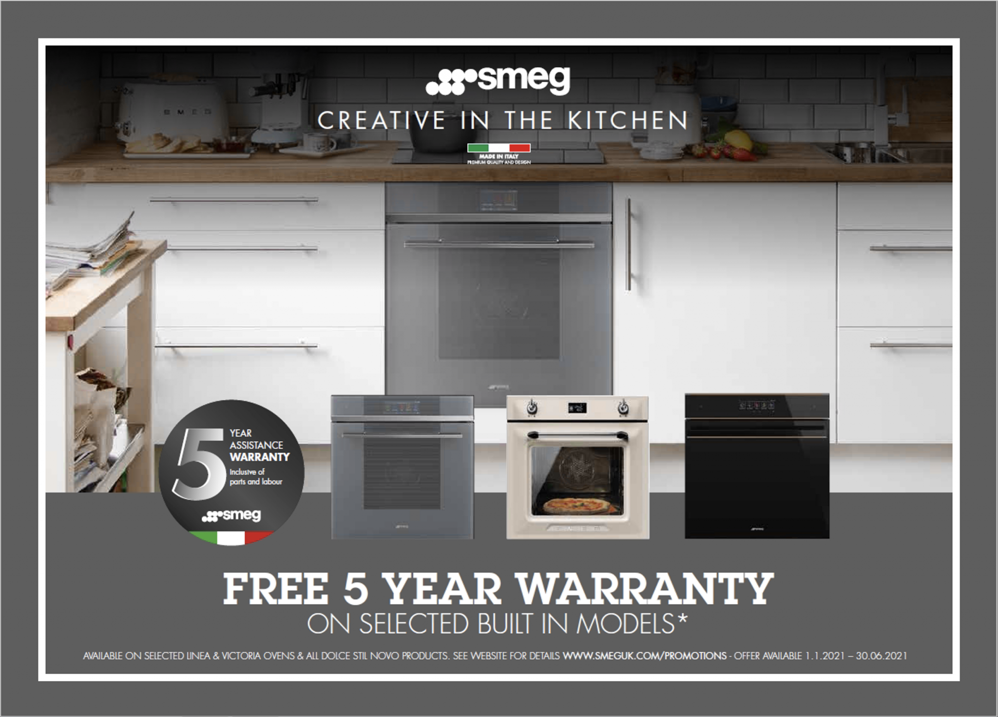 Free 5 year guarantee on selected Smeg ovens