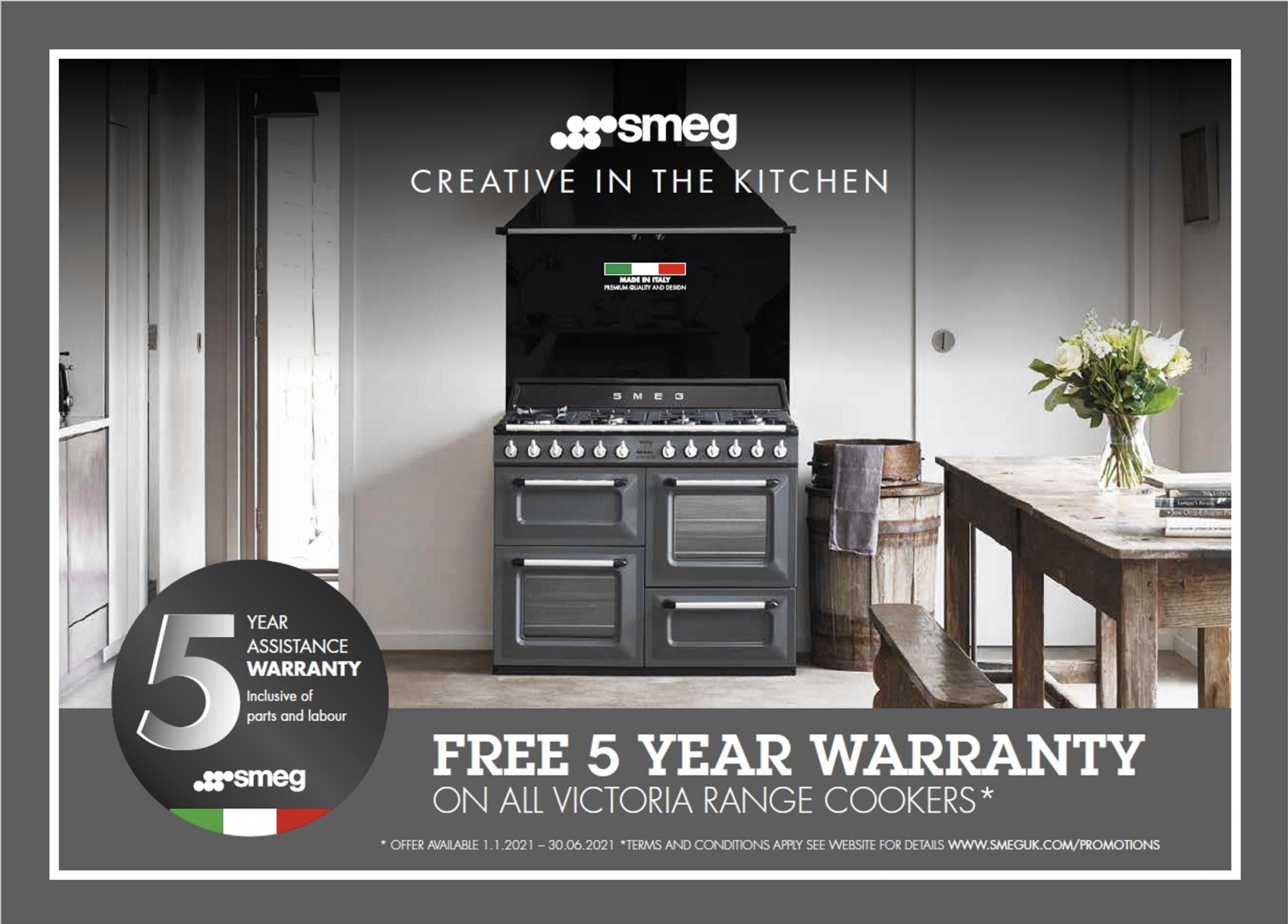 Free 5 year guarantee on selected Smeg range cookers