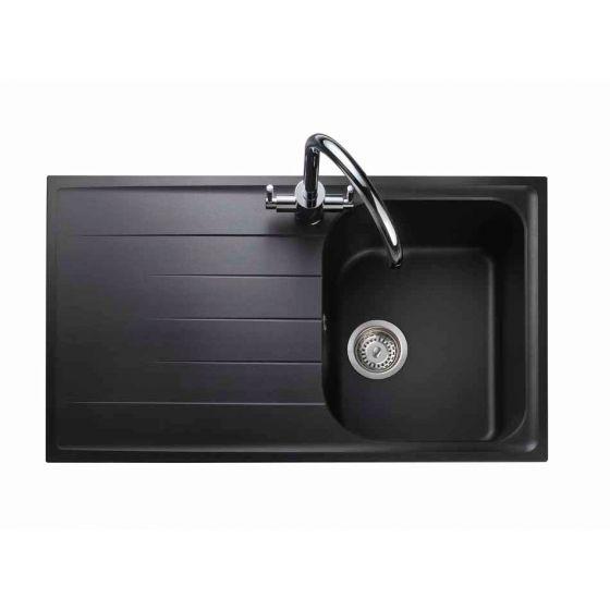Image of Rangemaster AME860AS Amethyst Ash Black 1 Bowl Compact Inset Sink