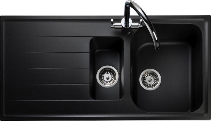 Image of Rangemaster AME1052AS Amethyst Ash Black 1.5 Bowls Inset Sink