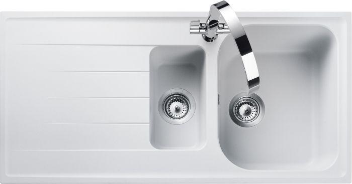 Image of Rangemaster AME1052CW Amethyst Crystal White 1.5 Bowls Inset Sink