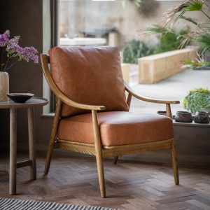 Ashley Brown Leather Armchair Image 2