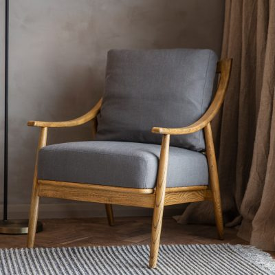 Ashley Linen Armchair in Dark Grey