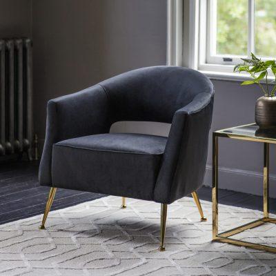 Barkley Velvet Armchair in Black