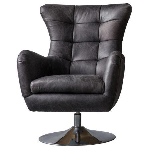 Brice Leather Swivel Chair in Antique Ebony Black