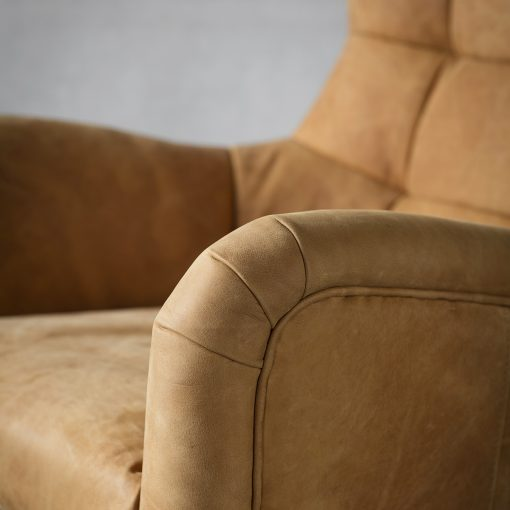 Brice Leather Swivel Chair in Saddle Tan