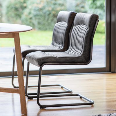 Carter Leather Dining Chair in Antique Ebony Black