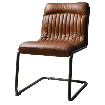 Carter Leather Dining Chair in Brown Image 1