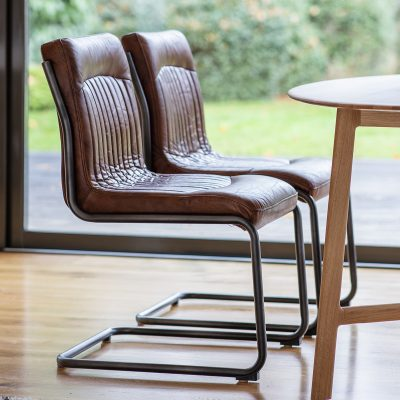 Carter Leather Dining Chair in Brown Image 2