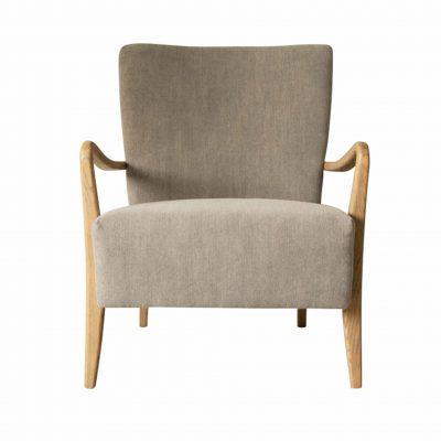 Chattum Linen Armchair in Charcoal Grey