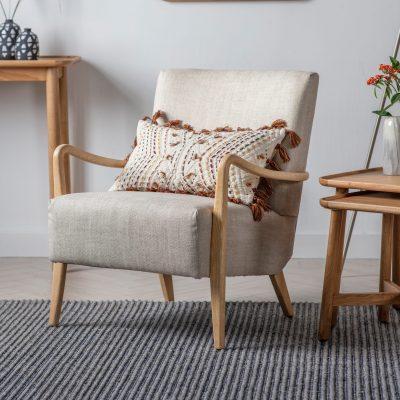 Chattum Linen Armchair in Natural Beige
