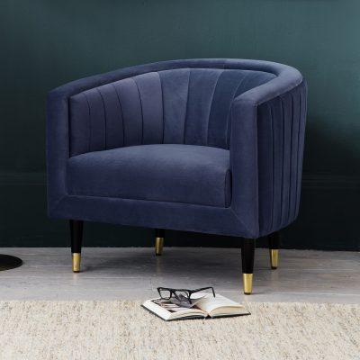 Chloe Velvet Armchair in Twillight Blue
