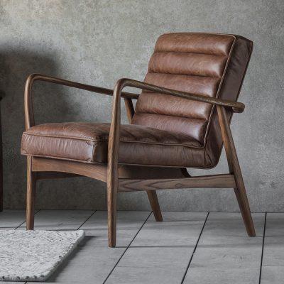 Dachia Brown Leather Armchair