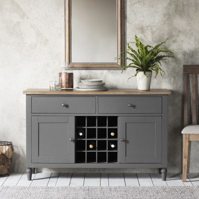 Dean Acacia Wood Sideboard with Wine Storage in Grey