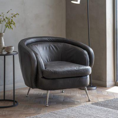 Desirea Leather Tub Chair in Black