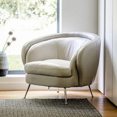 Desirea Leather Tub Chair in Cream