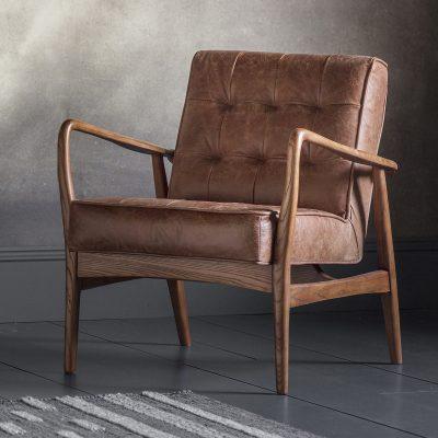 Hemming Leather Armchair in Vintage Brown