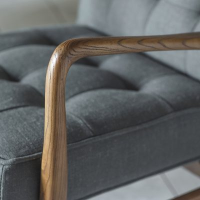 Hemming Linen Armchair in Dark Grey