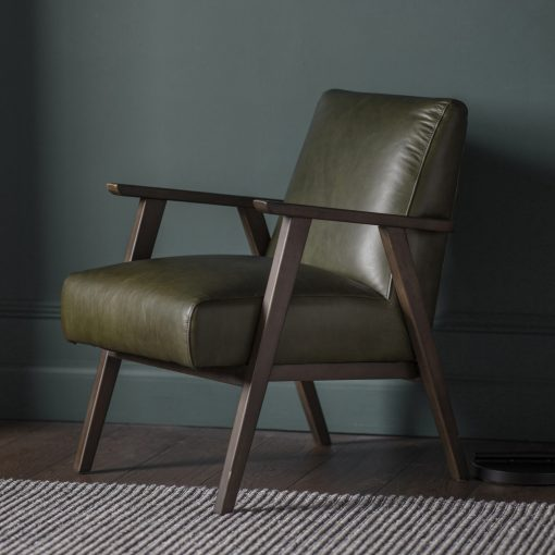 Newland Leather Armchair in Heritage Green