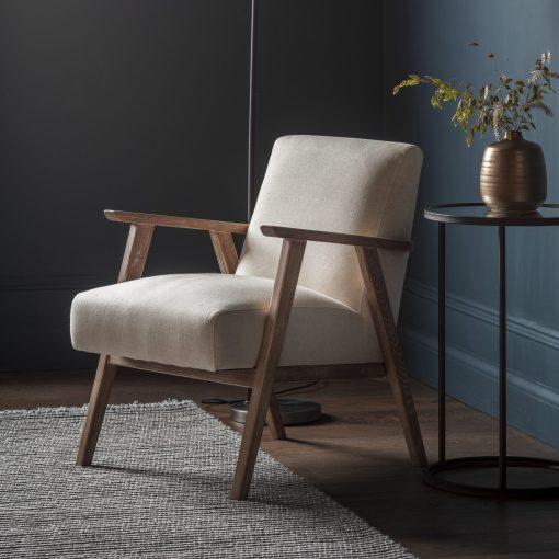 Newland Linen Armchair in Natural Beige
