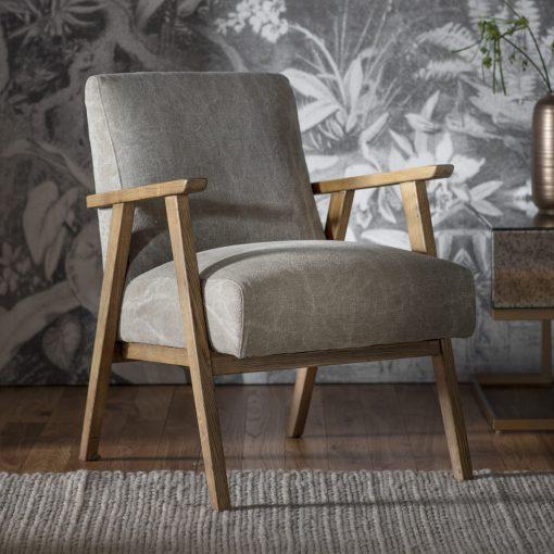 Newland Linen Armchair in Pebble Grey