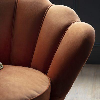 Roche Fabric Armchair in Rusty Orange
