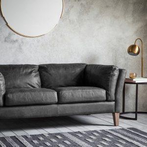 Rogate Leather 2 Seater Sofa - Black