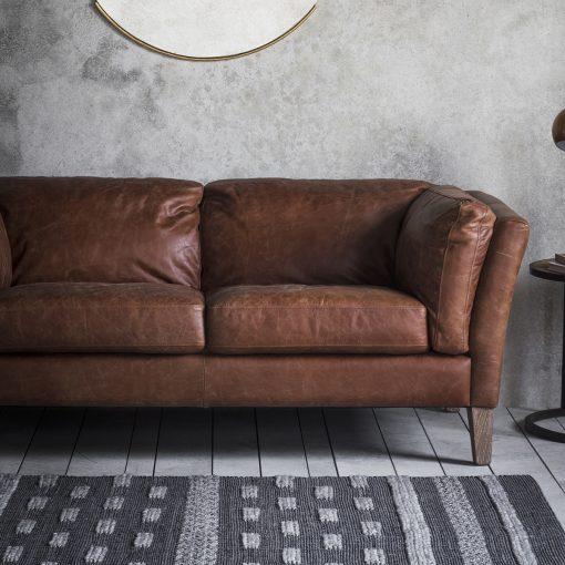 Alton Leather 2 Seater Sofa in Brown