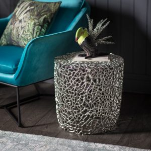 Arden Metal Side Table in Silver