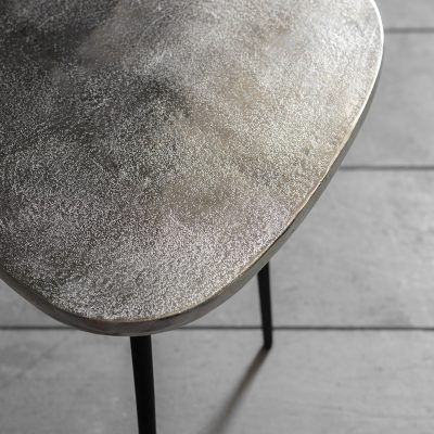 Atlus Small Metal Side Table in Silver