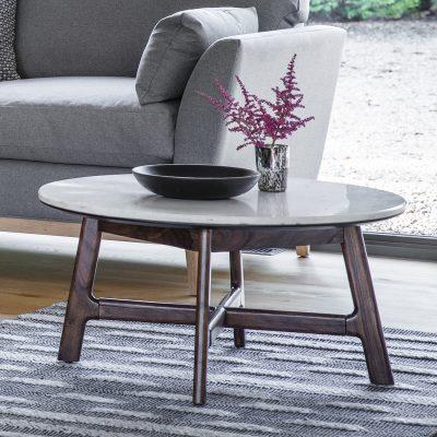 Badalonia Dark Acacia Wood with Marble Top Coffee Table