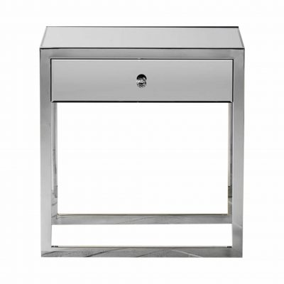 Bath Mirrored 1 Drawer Side Table in Silver